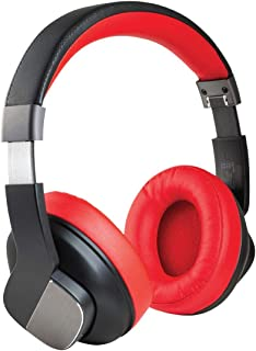Promate Wireless Bluetooth Headphones, Premium Active Noise Cancelling On-Ear Headset with Mic, Hi-Fi Sound, Foldable Design, 3.5mm Audio Cable and 20H Playtime for Smartphones, TrueBeats (Red)
