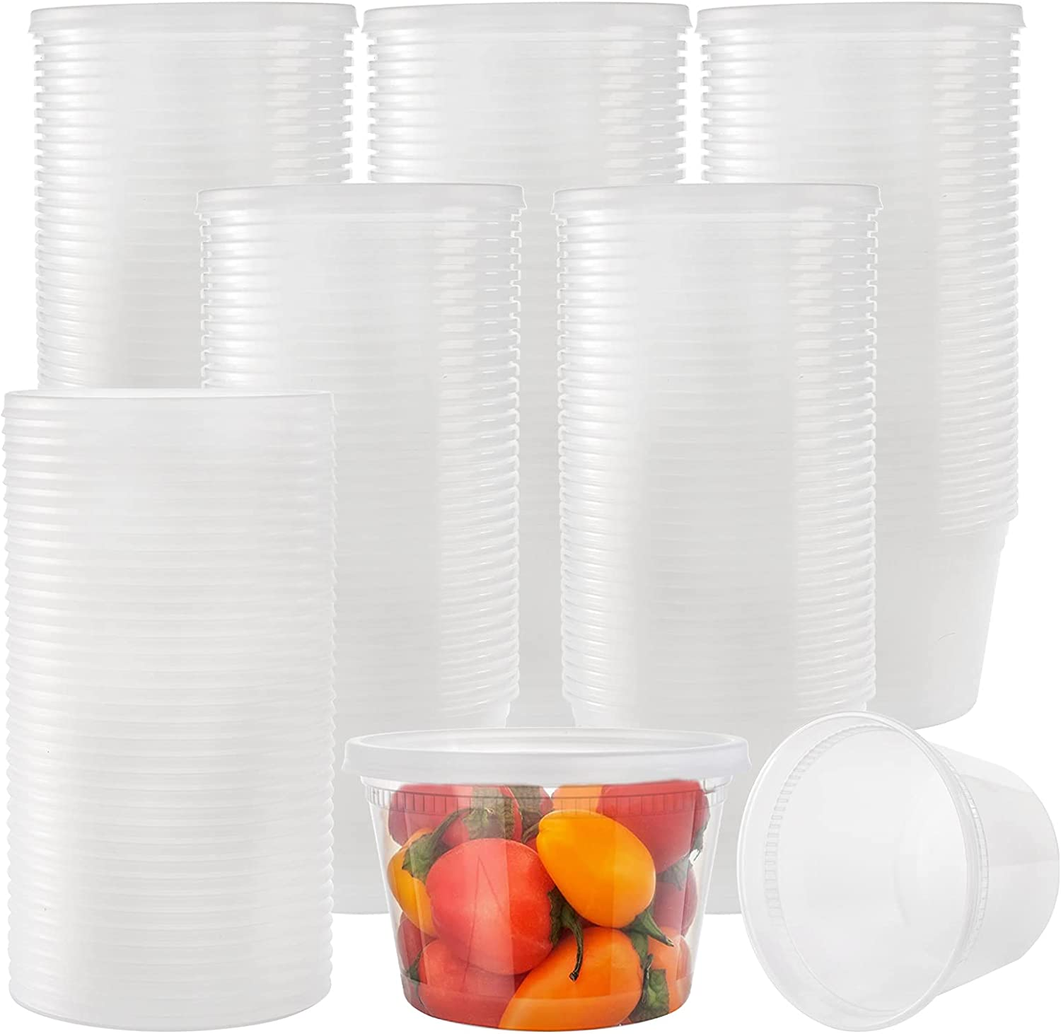Lawei 70 Pack Plastic Deli Food Containers with Lids - 16 Oz Food Storage Containers Freezer Deli Cups for Soup, Party Supplies, Meal Prep and Portion Control