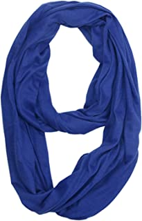 Zando Womens Infinity Scarves Lightweight Infinity Scarf with Solid Color Soft Travel Scarf Fashion Loop Scarf Gifts Fall Winter Plaid Scarf Infinity Scarf for Women Royal Blue One Size