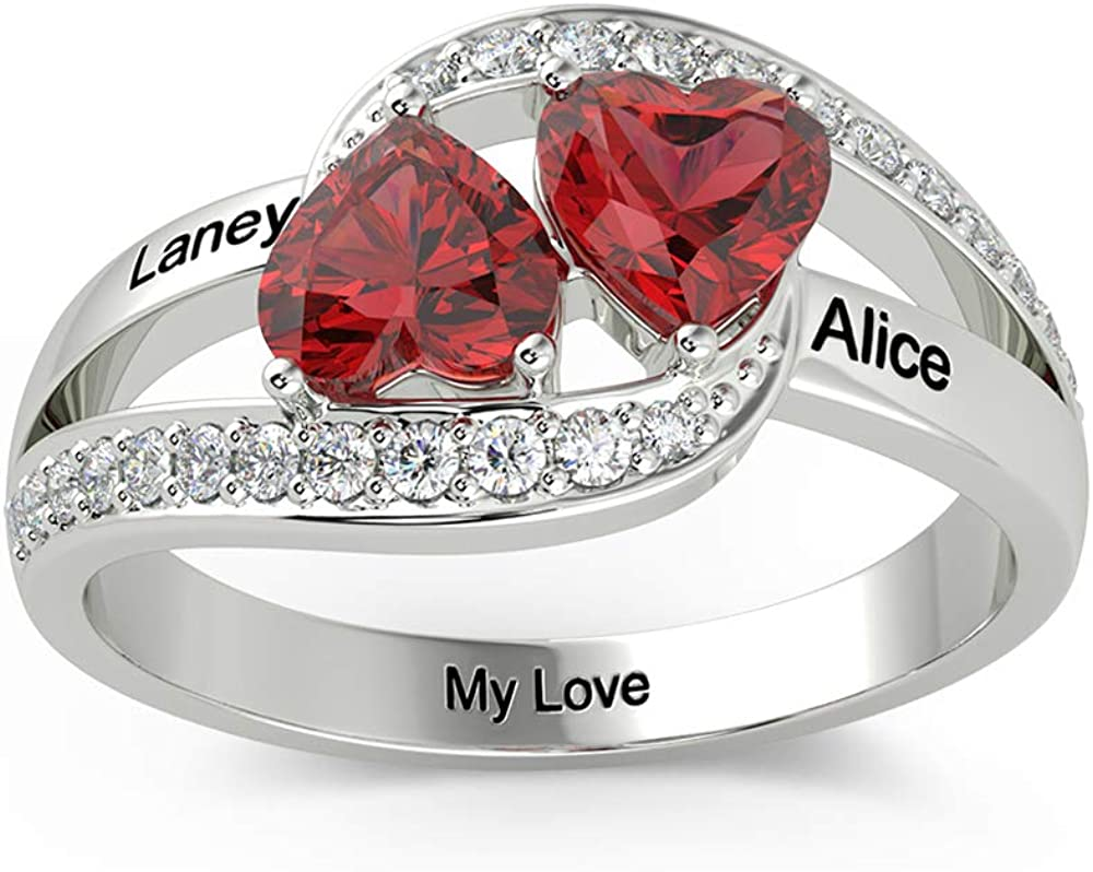 Personalized Ranking TOP9 Sterling Silver Mother Daughter Heart Rings with 2 100% quality warranty!