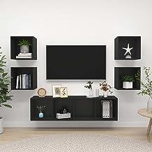 Zwarte spaanplaat Furniture5 stuk TV kabinet Set zwarte spaanplaat