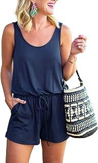 REORIA Womens Summer Scoop Neck Sleeveless Tank Top Short Jumpsuit Rompers
