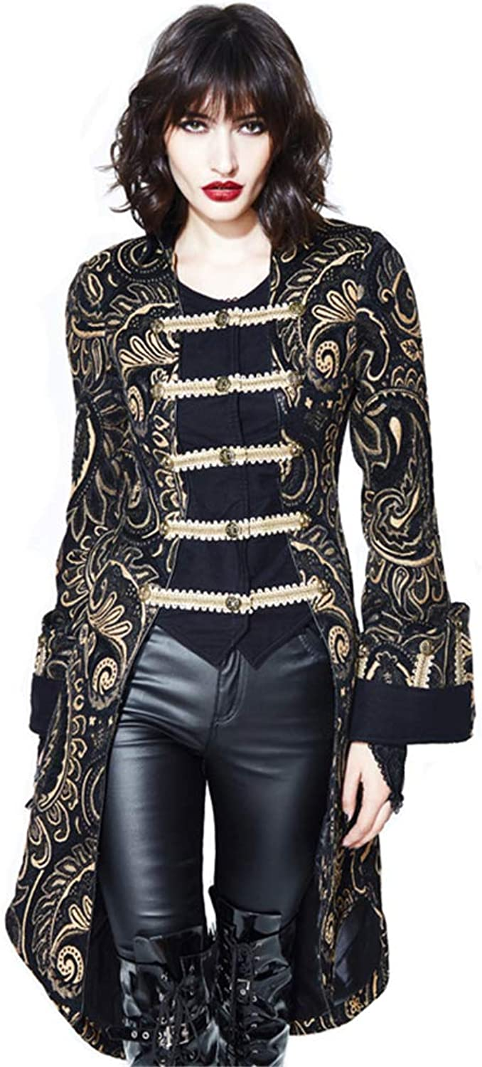 Devil Fashion Gothic Women Palace Jackets gold Black Vintage Embroidered Stand Collar Long Coats