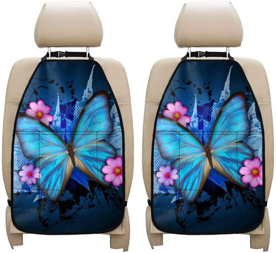 ORGYPET Blue Butterfly Printed Kick Mats Car Seat Back Protector, Universal Interior Auto Decor Seat Organizer 2- Pack Storage Pocket Carseat Kick Mat Cushion