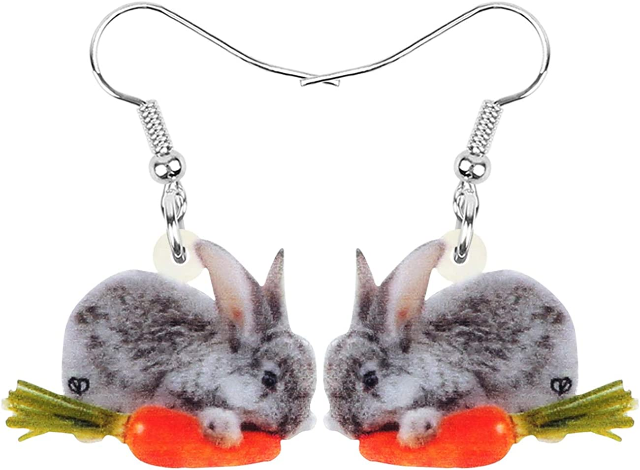 DUOWEI Cute Acrylic Easter Bunny Rabbit Earrings Cute Basket Easter Eggs Drop Dangle Jewelry with Love Message for Women Teens Girls Holidays Gifts