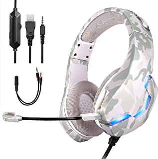 Camouflage Headphone Game eat Chicken Computer Competition Headphones (Off-White)