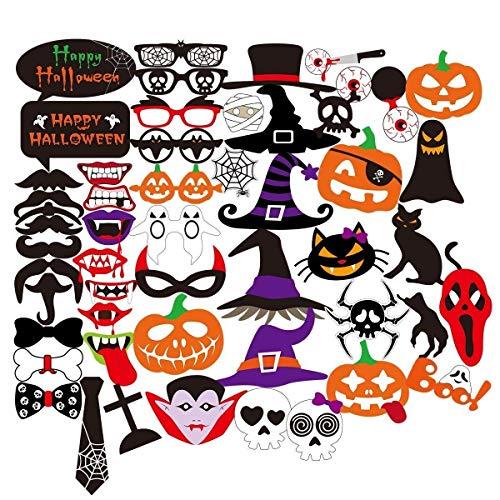 Kesoto 52 Piezas de Halloween Photocall Accesorios de Fotos de Papel Selfie...