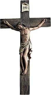 Polly House 14 Inch Jesus Nailed On The Cross Resin Stone Wall Cross Crucifix
