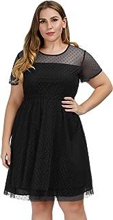 Women Plus Size Cocktail Party Dress Polka Dots Mesh Skater Dress