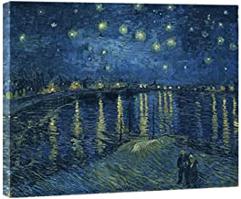 Wieco Art - Starry Night Over The Rhone by Van Gogh Famous Oil Paintings Reproduction Modern Framed Giclee Canvas Print Ar...
