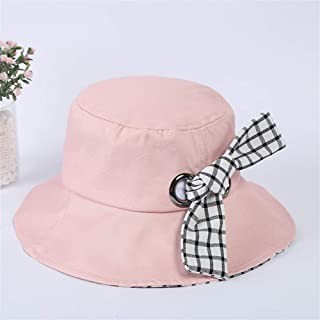 ZWHMZ New French Fresh Plaid hat Stitching Bow tie Fisherman hat Summer Ladies Sun hat (Color : Pink, Size : One Size)