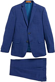 Tallia Boys Skinny Fit Windowpane Wool Suit 12