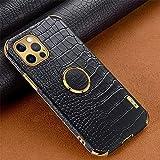 Hadwii - Custodia in pelle PU per iPhone XS Max con anello girevole di 360 gradi, sottile, morbida, motivo coccodrillo, antiurto, antigraffio, in TPU