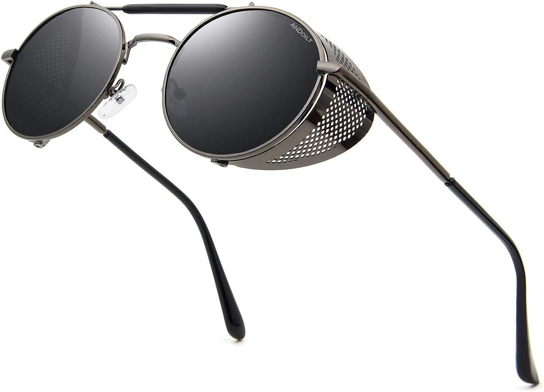ANDOILT Steampunk Redondo Gafas de Sol para Hombres Mujeres Vintage Retro Gafas Matel Marco UV400 Protección