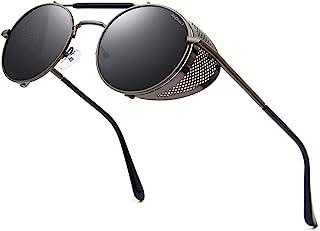 Steampunk Sunglasses for Men Women Round Polarized Vintage Retro Eyewear Matel Frame UV400...