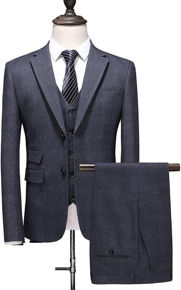 SSMDYLYM (Suit + Vest + Pants Men's Fashion Business Casual Wedding Dress/New Men Suit Slim 3-Piece (Color : Gray, Size : 3XL 74-80kg)