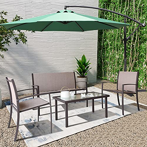 Garden Furniture Set with Parasol, Outdoor Garden Furniture Set 4 Seater, 4 piece Patio Sofa Set, Glass Table and Chair Set for Conversation