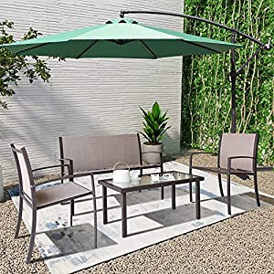 Patio Set 4 Seater Glass Table and Chair Set with Parasol