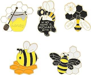 KESYOO 5pcs Cute Bee Enamel Pins Cute Brooch Lapel Pin Cartoon Badge Brooch for Backpacks Jackets Clothes Bag Cute Lapel B...