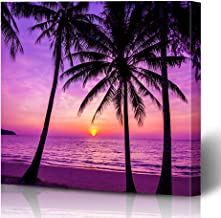 Ahawoso Canvas Prints Wall Art Printing 12x16 Colorful Beach Palm Trees Silhouette Sunset Nature Purple Orange Summer Asia Black Bounty Clouds Painting Artwork Home Living Room Office Bedroom Dorm