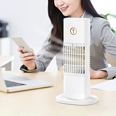 Portable Mini Air Cooler Cooling Fan with Seven fan blades, 3-Speeds Wide Angle 300ML Water Tank Colorful Night Light USB Cha