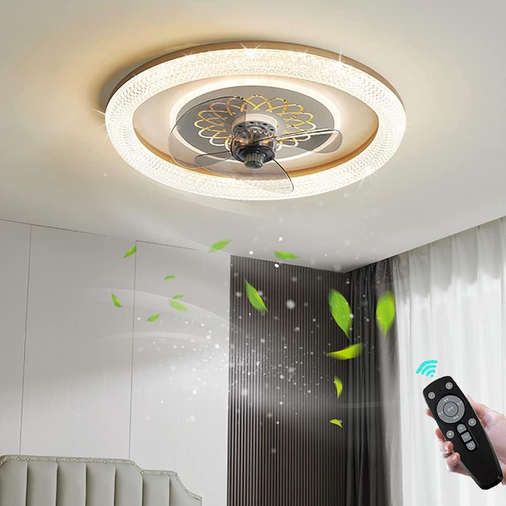 90W Cristal Lámpara de Ventilador con Control Remoto Regulable Moderna Ventilador de Techo Dormitorio con LED Iluminación Transparente Acrílico Ventilador de Plafon Silencioso para Salón Cuarto Niños