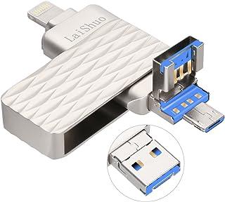 ذاكرة فلاش يو إس بي 32 جيجابايت، محرك أقراص USB Bari 3.0 عالي السرعة iPhone Jump Drive 3 في 1 ذاكرة تخزين خارجية سعة 32 جي...