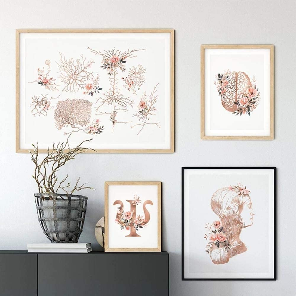 TWTQYC Psychology Prints Wall Poster Brain Neurons Neck Nerves Floral Medical Art Canvas Painting Psychiatrist Doctor Home Office Decor