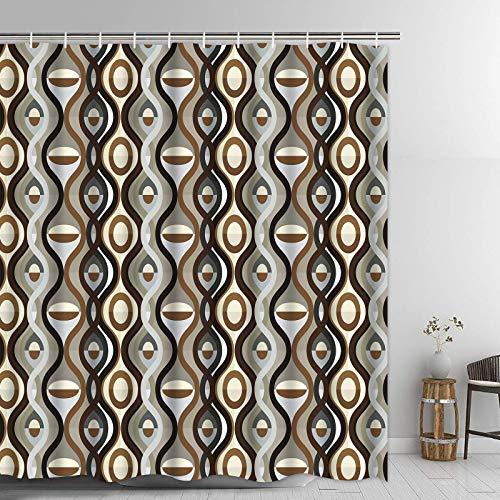 "Pknoclan Brown Bathroom Curtain, Burgundy Shower Curtains with 12 Hooks, Waterproof Fabric Bath Curtain for Bathroom, 69"" x 70"" inch, Brown"