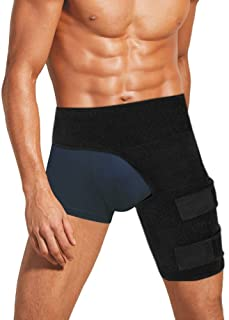 Ideapro Compression Wrap Support, Adjustable Groin Hip Thigh Quad Hamstring Joints, Hamstring Recovery Support - Sciatica Nerve Pain Relief Strap for Men & Women