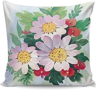 Fundas de almohada de primavera, romántico, rosa, margarita, hermosa flor, acuarela, fundas de almohada decorativas, 18 x 18 pulgadas, funda de cojín doble cuadrada para decoración de sofá en casa