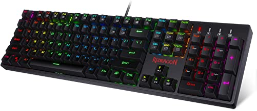 Redragon K582-PRO Mechanical Gaming Wired Keyboard with Ultra Fast Optical Blue Switches, Tactile & Highly Precision, RGB Backlit, 104 Keys Standard for Windows PC Gamers