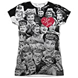 I Love Lucy Faces (Front Back Print) Juniors Sublimation Shirt White XL
