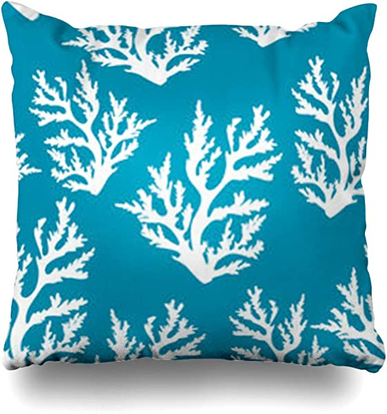Decor Gifts Throw Pillow Covers Art Seaweed Underwater Pattern Corals On Blue Sea Marine Parks Abstract Color Deep Outdoor Cushion Case Square Size 20 X 20 Inches Home Decor Pillowcase