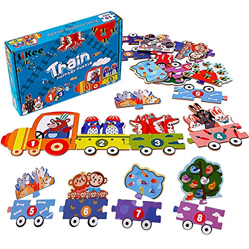 LIKEE Number Floor Puzzle Math Flash Cards Addition Games Animal Train Jigsaw Puzzle Sorting Blocks Preschool Educational Montessori Toys for Classroom Toddlers Kids 3 4 5 6 Years (19pcs)