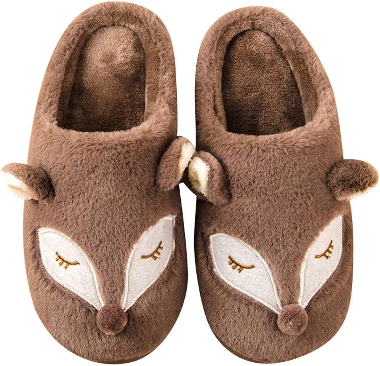 Mobnau Womens Fox Print Cotton Indoor Bedroom House Animal Slippers