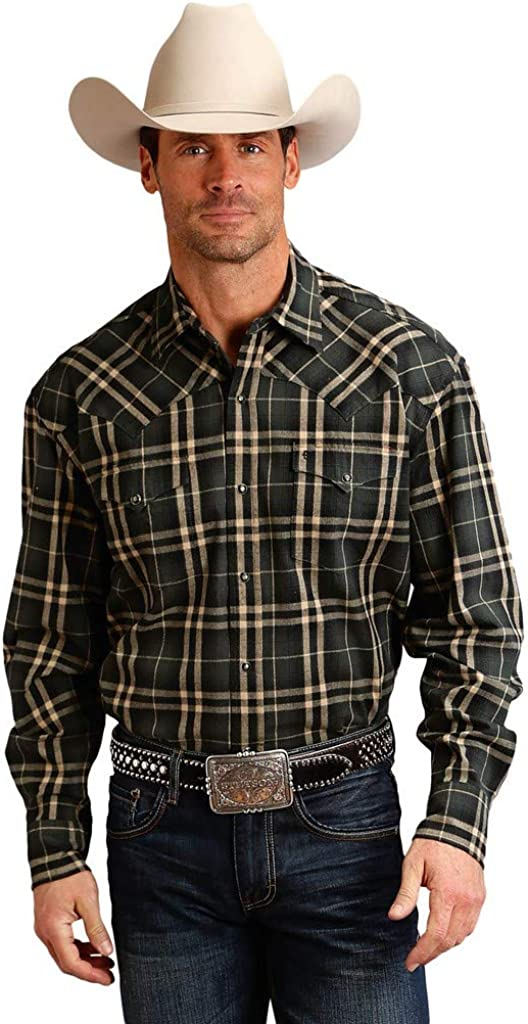 Stetson Men's Hunter Green Plaid Long Sleeve Snap Western Shirt Grey Small