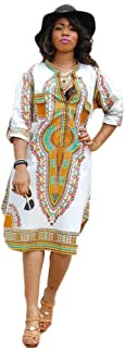 Women African Bodycon Dresses,Ladies Bohemian Vintage Print Club Midi Dress Casual V-Neck Traditional Ethnic Party Dresses