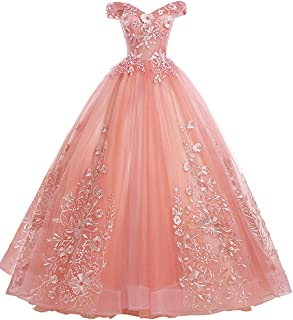 Women's Quinceanera Dresses Lace Appliques Off Shoulder Ball Gown Sweet 16 Dresses with Pearl