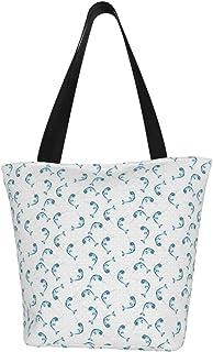 Lesif Einkaufstaschen, Narwhal Cyan verstreut auf weißem Segeltuch, Schultertasche, wiederverwendbar, faltbar, Reisetasche, groß und langlebig, robuste Einkaufstaschen