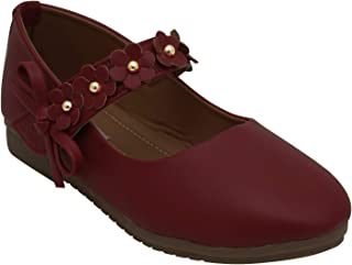 D'chica Flower Strap Festive Maroon Ballerinas for Girls Ballet Flats