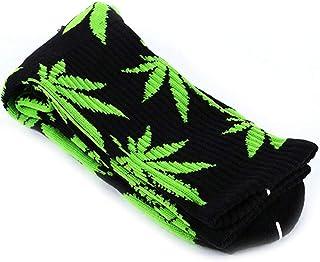 Bongles, 1 par de calcetines de algodón cómodo impresos hoja de marihuana calcetines largos ocasionales Weed tripulación deporte calcetines (Negro y verde)