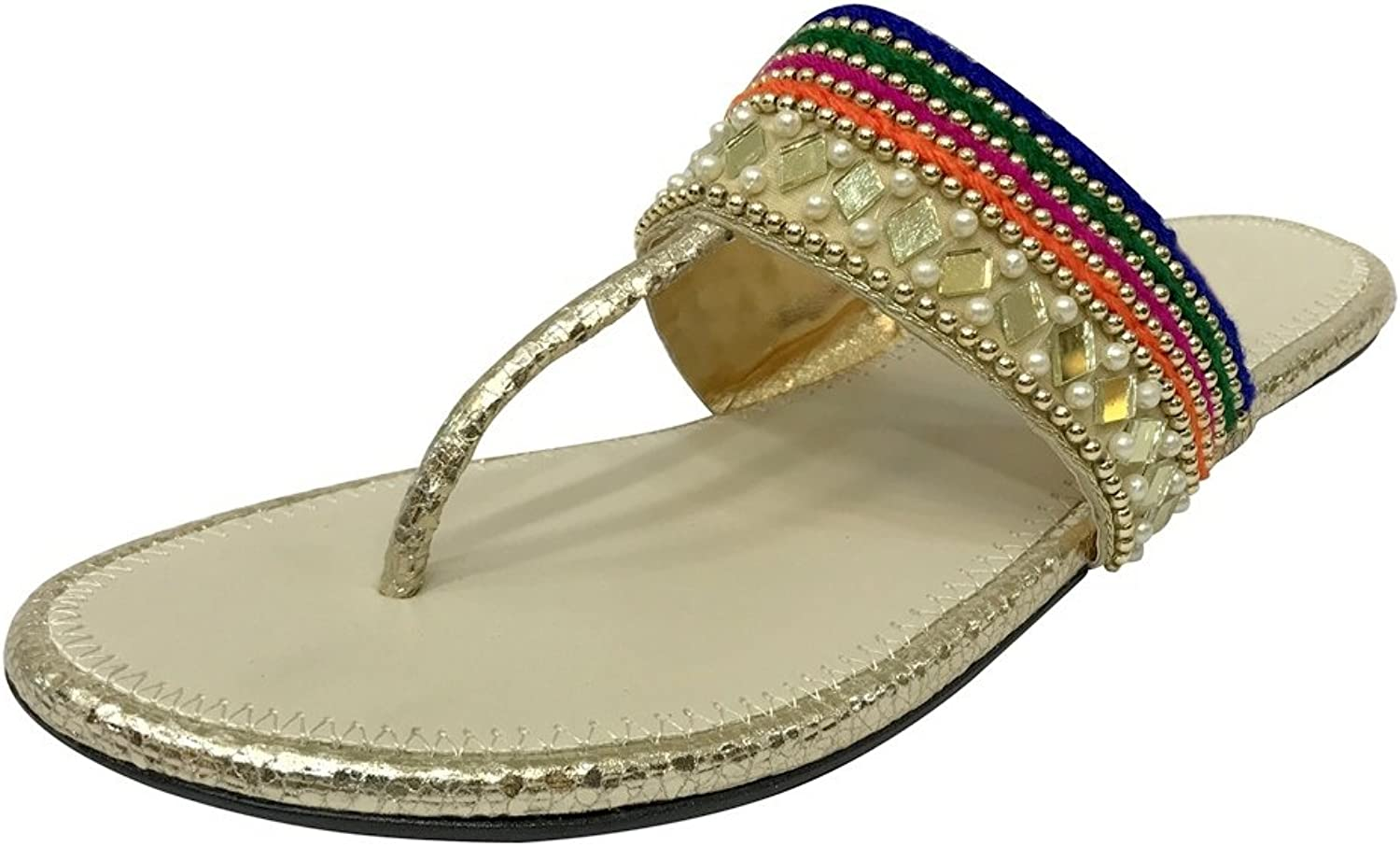 Step n Style Flat Beaded Sandals Flat Sandals Flat shoes Indian Sandals Khussa Jutti