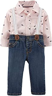 Baby Boys' Long Sleeve Checkered Bodysuit and Suspender...