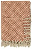 IB Laursen Plaid Decke Sofadecke Bettüberwurf Tagesdecke Creme/Orange Muster Baumwolle 160 x 130 cm 6570-36 cm