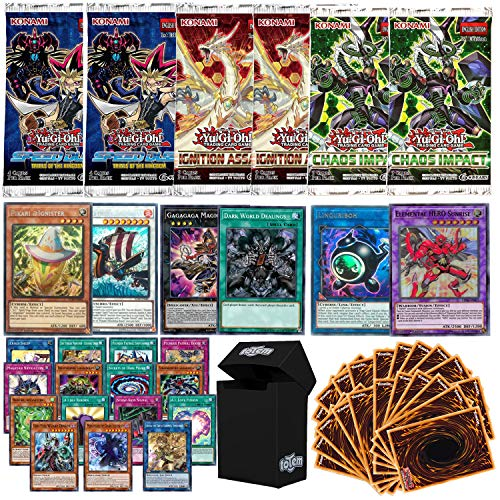 Totem World Legendary Bundle: 2 Super, 2 Secret, 2 Ultra, 20 Rare & 180 Yugioh Cards with 6 Booster Packs & Deck Box