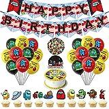 Among Us Suministro de Fiesta de Cumpleaños con Pegatinas de Decoración,Decoración de Fiesta de Cumpleaños Espacio del Hombre lobo,Globo,Cake Topper,Banner para Niños Decoración de Tartas de Fiesta