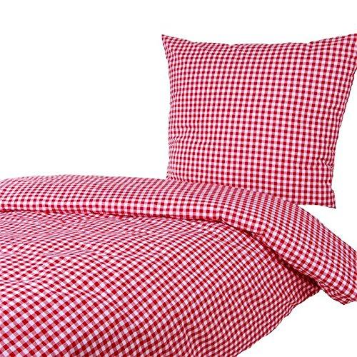 Hotelbettwäsche Karo 1x1 cm Baumwolle - Karomuster, Kariert, Bettbezug, Landhaus (Rot, 135x200 cm/80x80 cm)