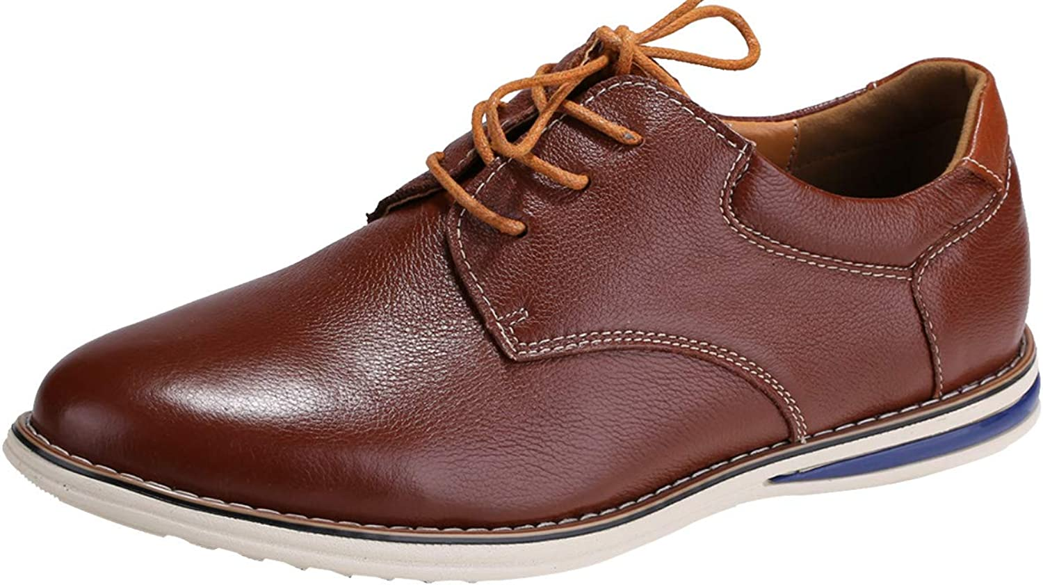 BIMUDUIYU Men's Leather Lace Up Casual Oxfords Dress shoes (9.5, Brown)