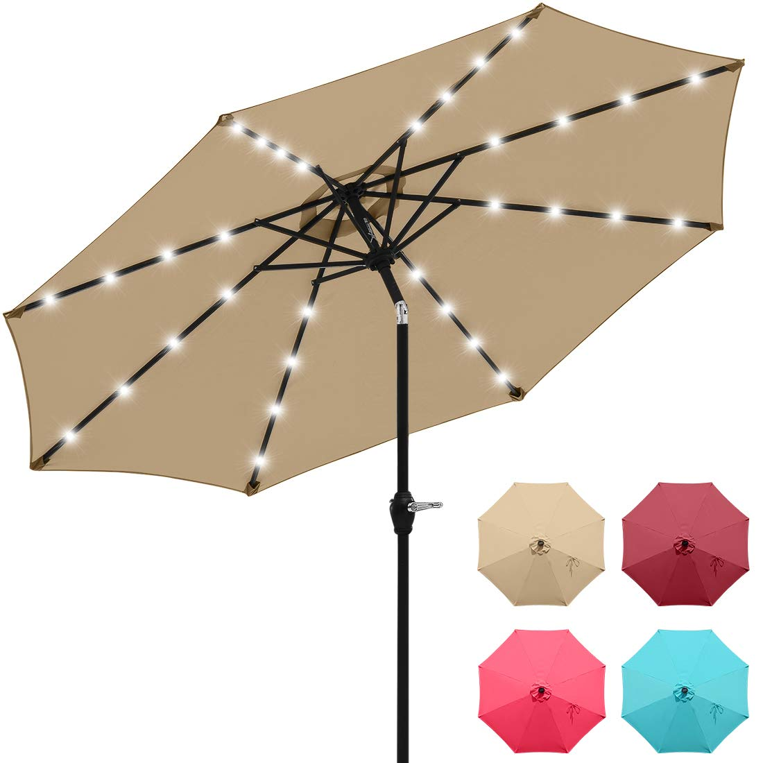 Beige HERMO 98S Roun 9 Ft Outdoor Patio 8 Ribs Market Table Umbrella